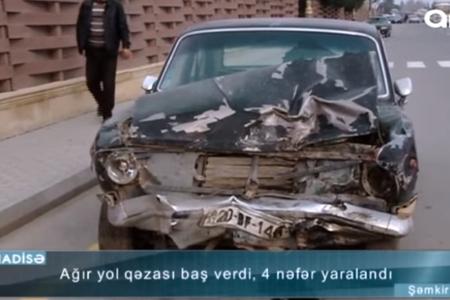 Avtomobillər körpüdən aşdı: 1 ailənin 3 üzvü olmaqla 4 nəfər yaralandı - VİDEO