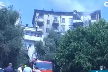 Paytaxtda yanan 6 mərtəbəli binanın görüntüləri - VİDEO