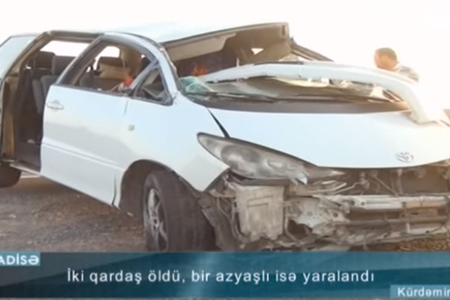 Kürdəmirdə qardaşların öldüyü dəhşətli qəzanın görüntüləri - Video