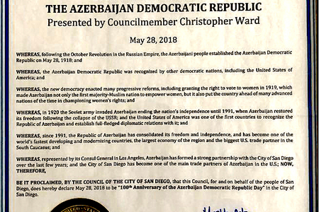 """ABŞ-ın San Dieqo şəhərində mayın 28-i """"Azərbaycan Demokratik Respublikasının 100 illiyi Günü"""" elan edilib"""