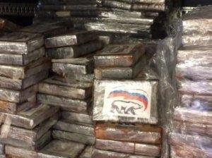 """Üstündə """"Vahid Rusiya"""" partiyasının loqosu olan 2 ton kokain müsadirə edildi"""
