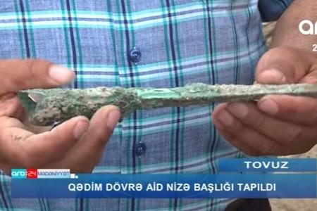 Tovuzda qədim dövrə aid nizə başlığı tapıldı - VİDEO