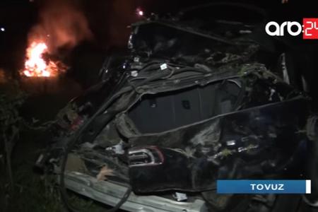 Tovuzda polis əməkdaşının öldüyü dəhşətli qəzanın görüntüləri - VİDEO