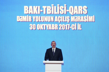 """Prezident: """"BTQ-nin tikintisi Azərbaycan, Türkiyə, Gürcüstan arasındakı dostluğun, qardaşlığın nəticəsidir"""""""