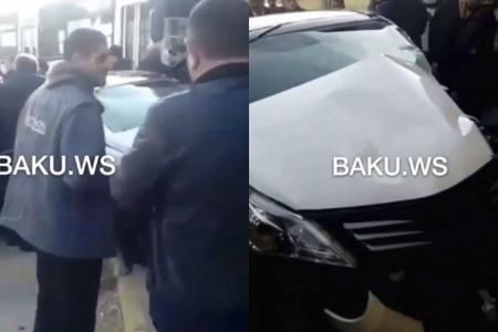 Masazırda ağır qəza: Sərnişin dolu avtobus divara çırpıldı - VİDEO