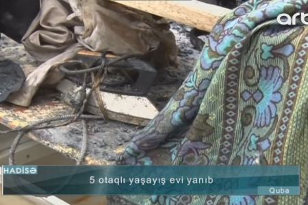 Qubada DƏHŞƏT: 5 otaqlı ev yandı - VİDEO