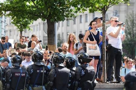 Moskvanın mərkəzində icazəsiz aksiya zamanı 136 nəfər saxlanılıb