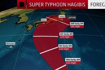 """Yaponiyaya güclü """"Hagibis"""" tufanı yaxınlaşır"""